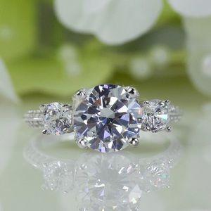 Jewelry - 2.00 Ct Three-Stone Round CZ Anniversary Ring